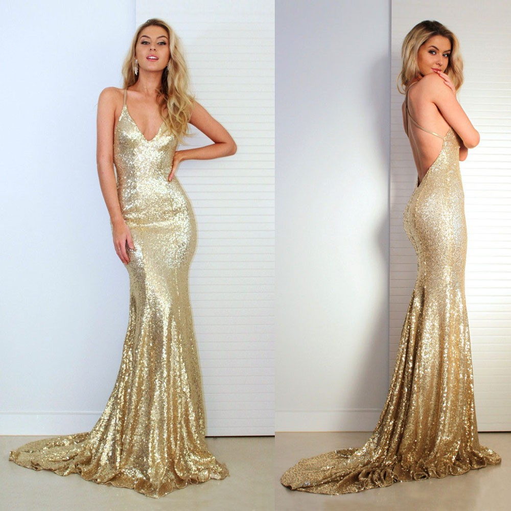 fb4c6f98 Sexy Open Back Sequined Maxi Dress Floor Length Dress Sleeveless Strapless  Deep V Neck Mermaid Party Dress Champagne ...