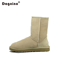 DAGNINO Women Winter Sheepskin Fur Snow Boots High Quality Leather Suede Lady Shearling Real Sheep Wool Lined Ankle Shoes Unisex
