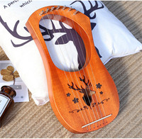 New Mahogany Wood body 7 Strings Harp for Learner Beginner pack with Tuning Wrench&Bag 3colors can be choosed