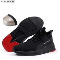Hipsters Men Breathable Mesh Safety Shoes Tennis Sneakers Casual Work Shoes Anti Smashing Puncture Steel Toe Shoes Work Boots