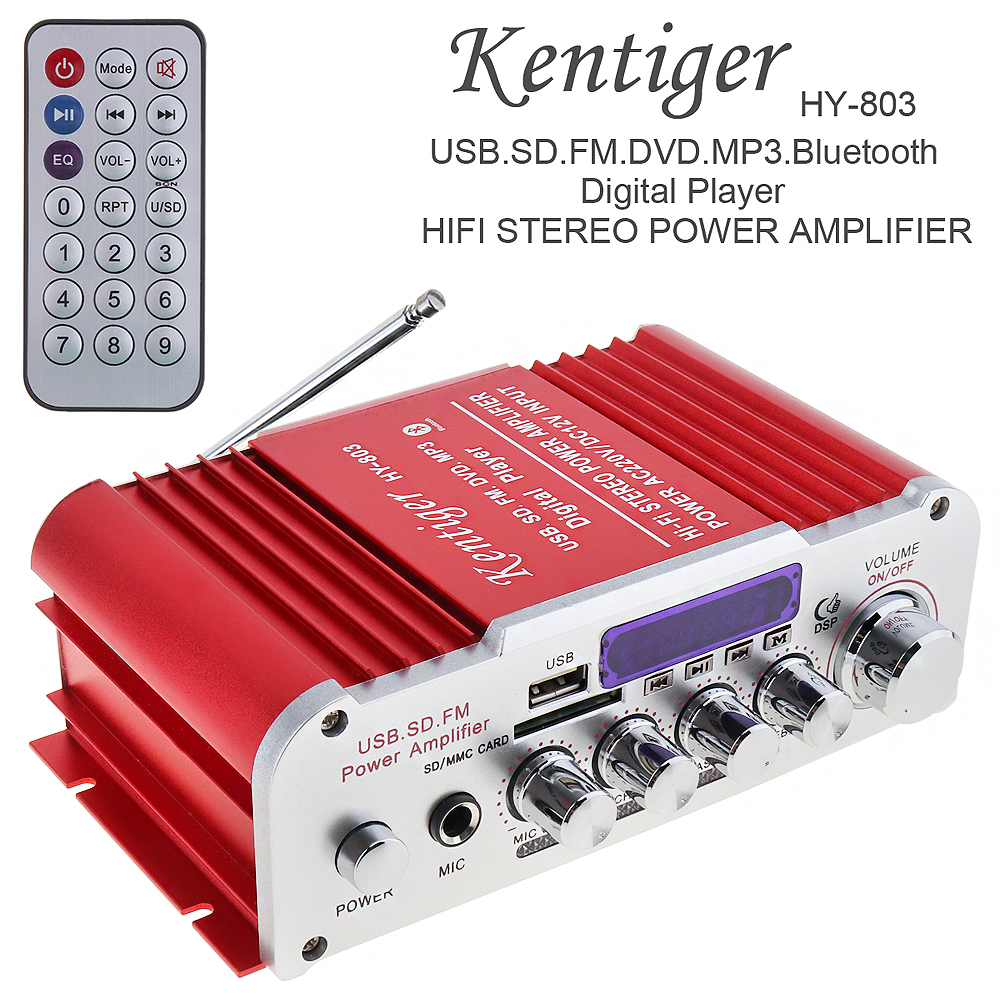 Kentiger 12V 2CH HI-FI Bluetooth Auto Car Audio Power Amplifier FM Radio Player Support SD USB DVD MP3 Input for Car Motorcycle 20w 20w hi fi audio amplifier 12v hi fi mini auto stereo audio amplifier support cd mp3 car power amplifier for car and home