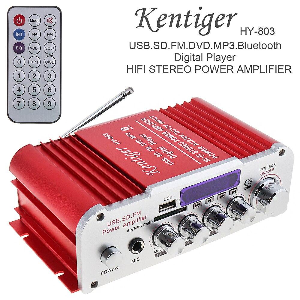 Kentiger 12V 2CH HI FI Bluetooth Auto voiture amplificateur de puissance FM lecteur de Radio prise en charge SD USB DVD MP3 entrée pour voiture moto-in Amplificateur from Electronique    1