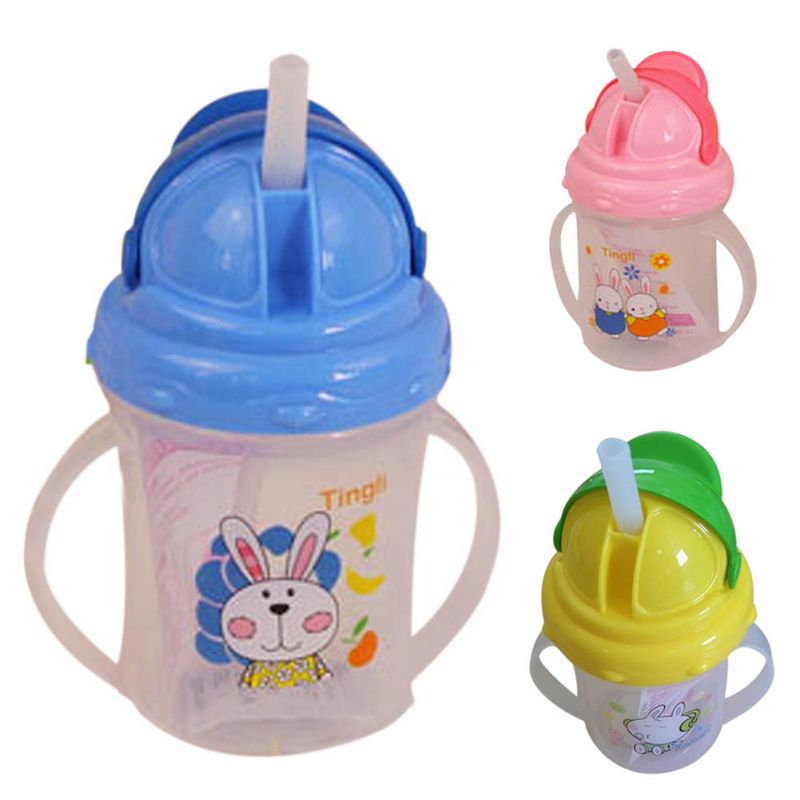 Baby Feeding Bottle Straw Cup Character Pattern Drinking Bottle Sippy Kids Cups With Handles