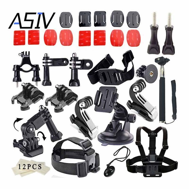 Asiv for GoPro Accessories Set for Gopro Hero 5 4 3+ 3 2 Sjcam SJ4000 SJ5000 SJ6000 SJ7000 for Xiaomi Yi Action Camera set kit