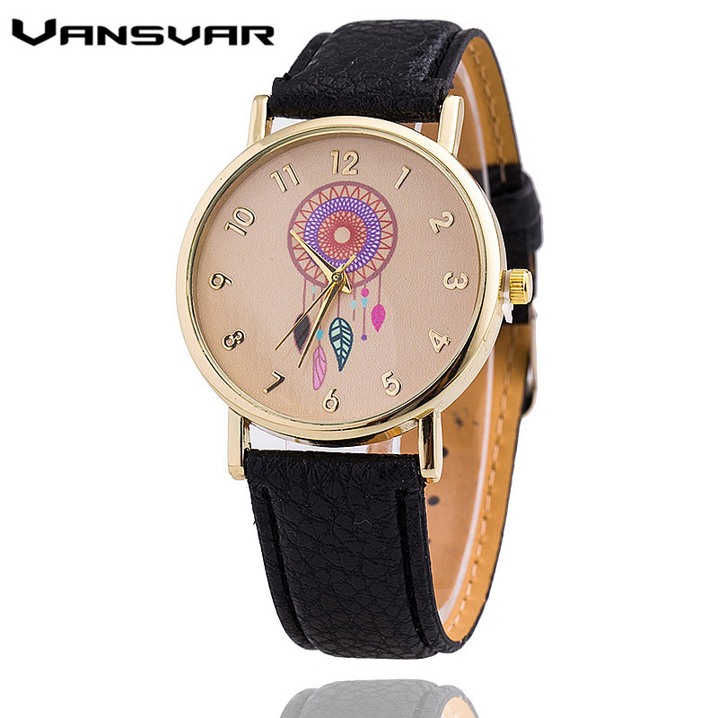 Vansvar Dreamcatcher Women Quartz Watches Reloj Mujer Relogio Feminino Leather Strap Wristwatch Dress Watch Clock 1635