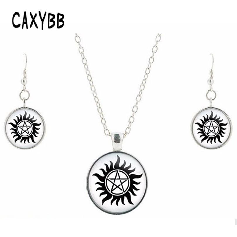 ee8139be4b00 Supernatural Dean Winchester Sam Seal Silver crystal jewelry crystal  necklace friendship pendant earrings jewelry