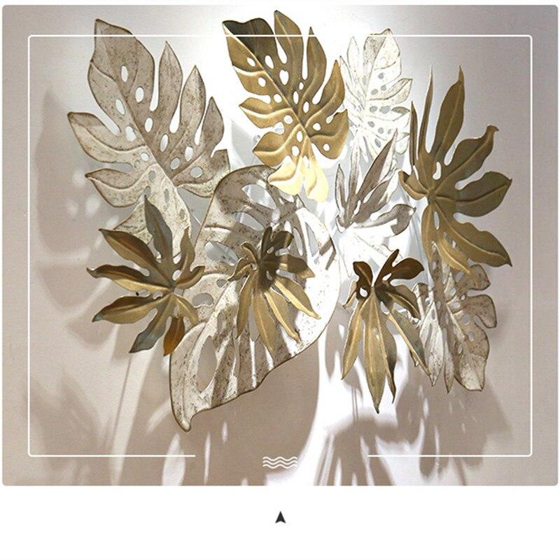 Ins скандинавские листья настенные украшения 3D стерео Кованые Настенные подвесные поделки домашний диван фон Настенная Наклейка Фреска R2054 - 4