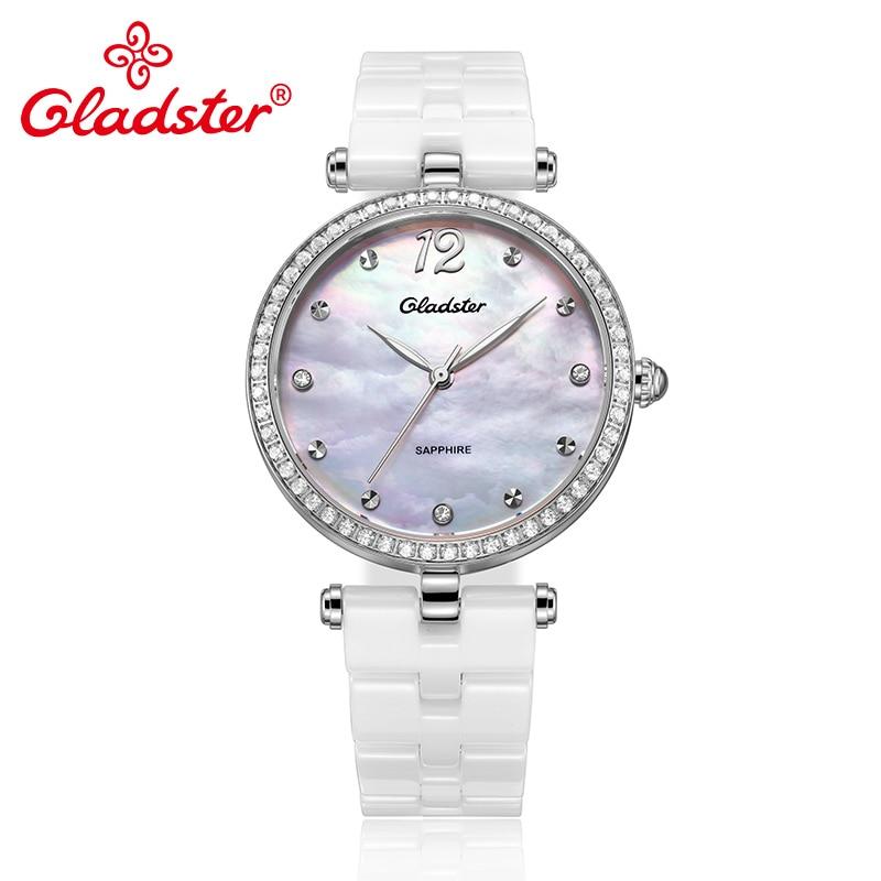 Gladster Ceramics Strap Golden Women Quartz Watch Shell Dial Lady Dress Wristwatch