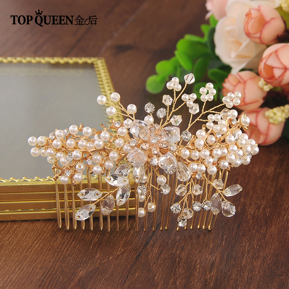 TOPQUEEN HP44 Wedding Bridal Hair Combs Hair Pins Hair Jewelry Crystal Pearls Beaded Bridal Headpiece Hair Accessories For Women