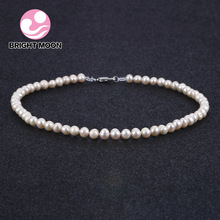 Bright Moon Pearl Jewelry Fine Freshwater Pearl Necklace Brand Natural Baroque Pearl Necklace 6-7mm White Stone Choker For Women
