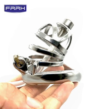 FRRK Male Chastity Cage stainless steel scrotum Cock Ring Penis Lock Dick Bondage sleeve Sex Toys For Men Adult Game