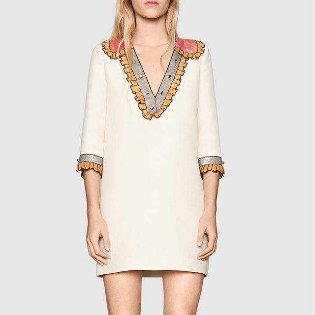 4f7b8d805e8 High Quality Women Runway Spring Summer White Black Causual Sequin  Embroidered Mini Short Dress Luxury Designer Casual Robes S33