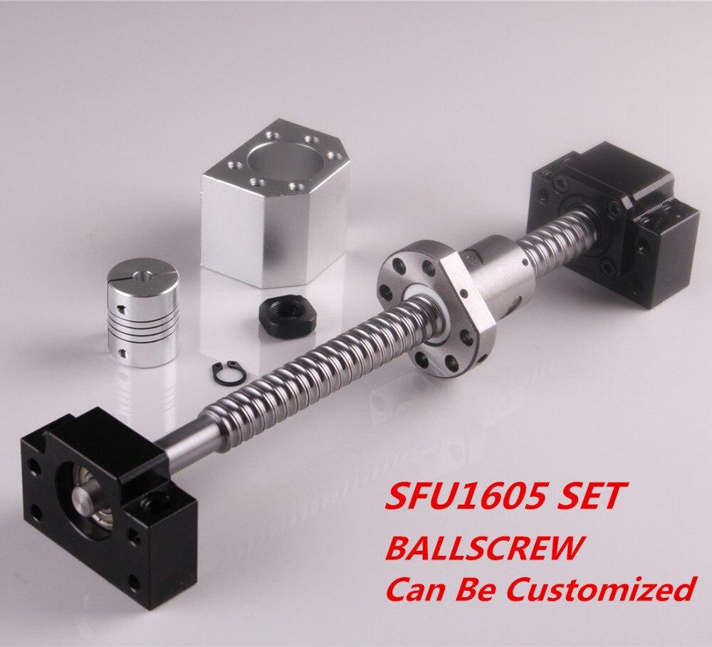 SFU1605 conjunto SFU1605 laminados tornillo C7 con mecanizado + 1605 Bola de tuerca y tuerca de vivienda BK/BF12 final soporte + acoplador RM1605 - 3