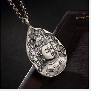 Image 4 - Uglyless Echt 999 Reinem Silber Handgemachte Bodhisattva Anhänger Halsketten keine Ketten Buddhismus Thai Silber Buddha Anhänger Wasser tropfen