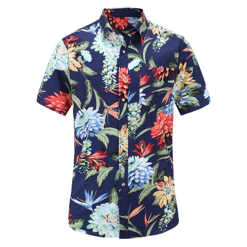 Aloha Shirt Men Mens Summer Fashion Beach Slim Fit Short Sleeve Floral Shirts Casual Holiday