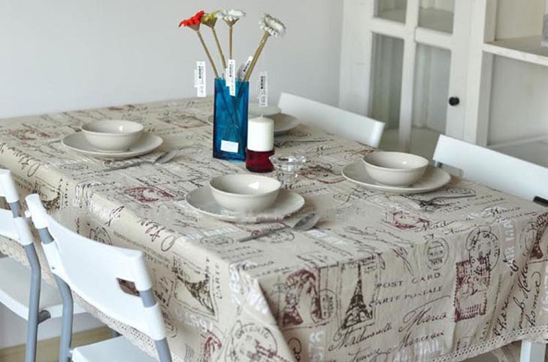GIANTEX Tower Print Decorative Table Cloth Cotton Linen Lace Tablecloth Dining Table Cover For Kitchen Home Decor U0996 5