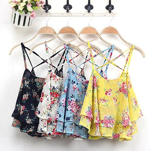 2016 Top Quality font b Women s b font Summer Sleeveless Strap Flower Print Chiffon font