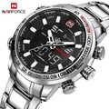 NAVIFORCE Luxus Marke Männer Sport Quarz Voller Stahl Uhren männer LCD Analog Military Wasserdichte armbanduhr relogio masculino