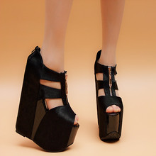 Wedges platform high heels female sandals sexy cutout 17cm platform high-heeled shoes