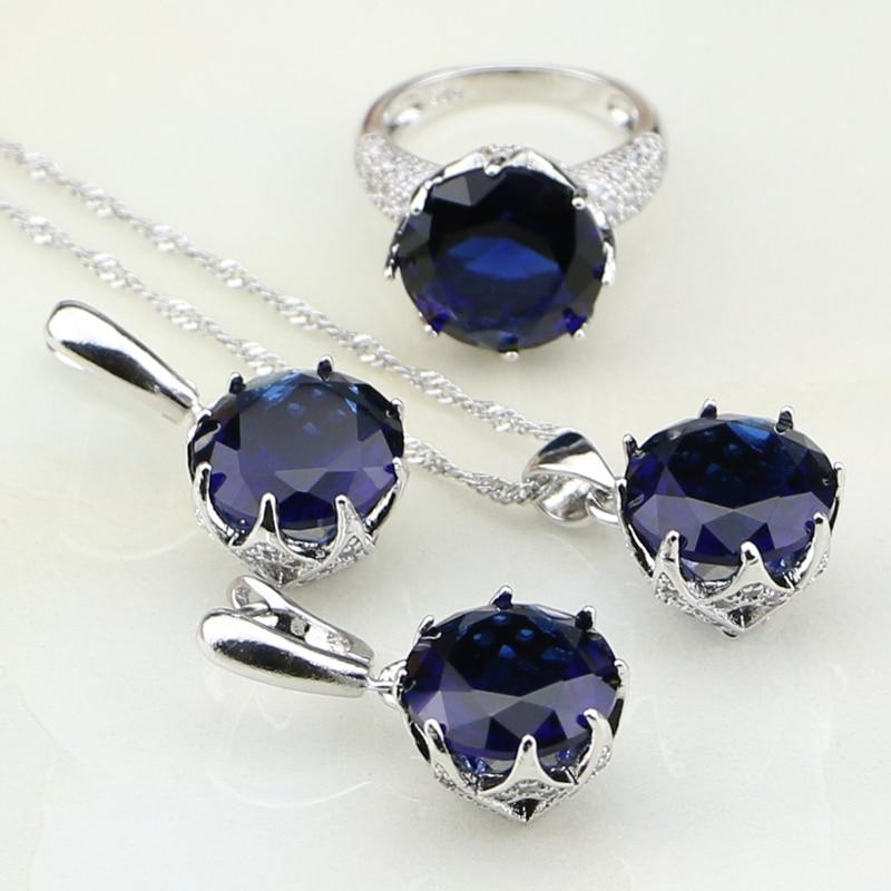 Kulaté modré kubické zirkony bílé zirkony stříbro 925 svatební svatební šperky náušnice / přívěsek / náhrdelník / prsten pro ženy  t