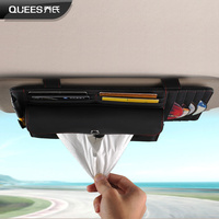 Accesorios Automovil Leather Multi functional Sunshade Storage Bag Car Sun Visor Organizer Tissue Box Cd Parking Card Holder