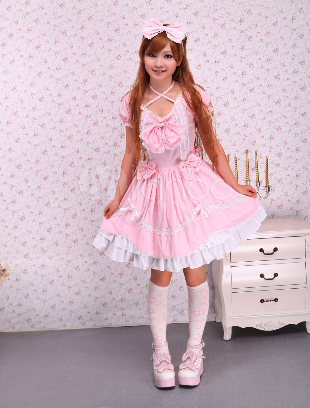 Cotton Pink Ruffles Bow Sweet Lolita Dress