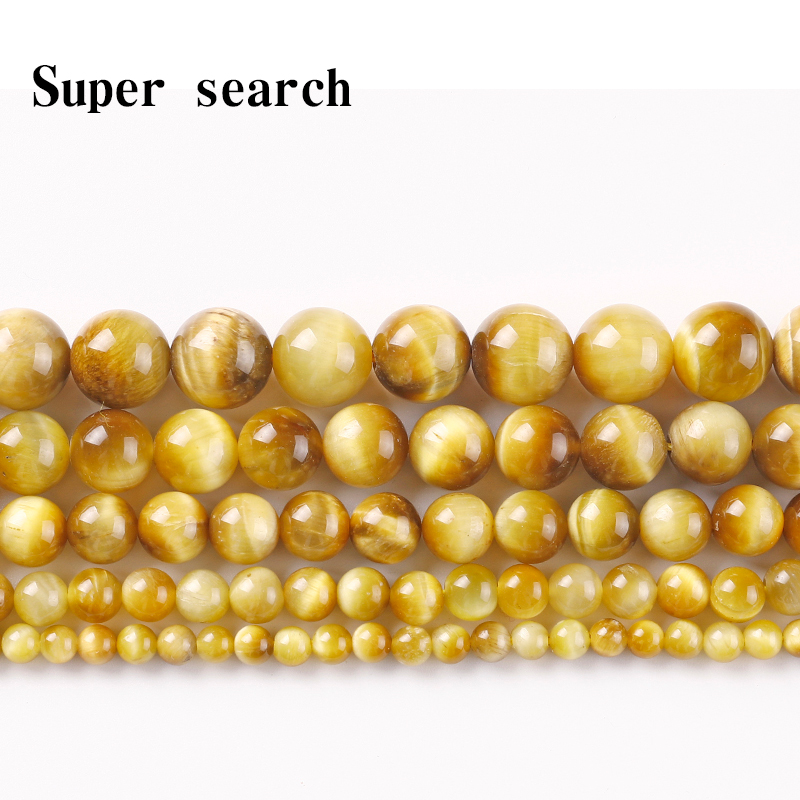 A+ Natural Stone Beads Gold Tiger Eye Stone Agat Strand round loose Bead 4 6 8 10 12mm Fit DIY Bracelet&Necklace Jewelry Making