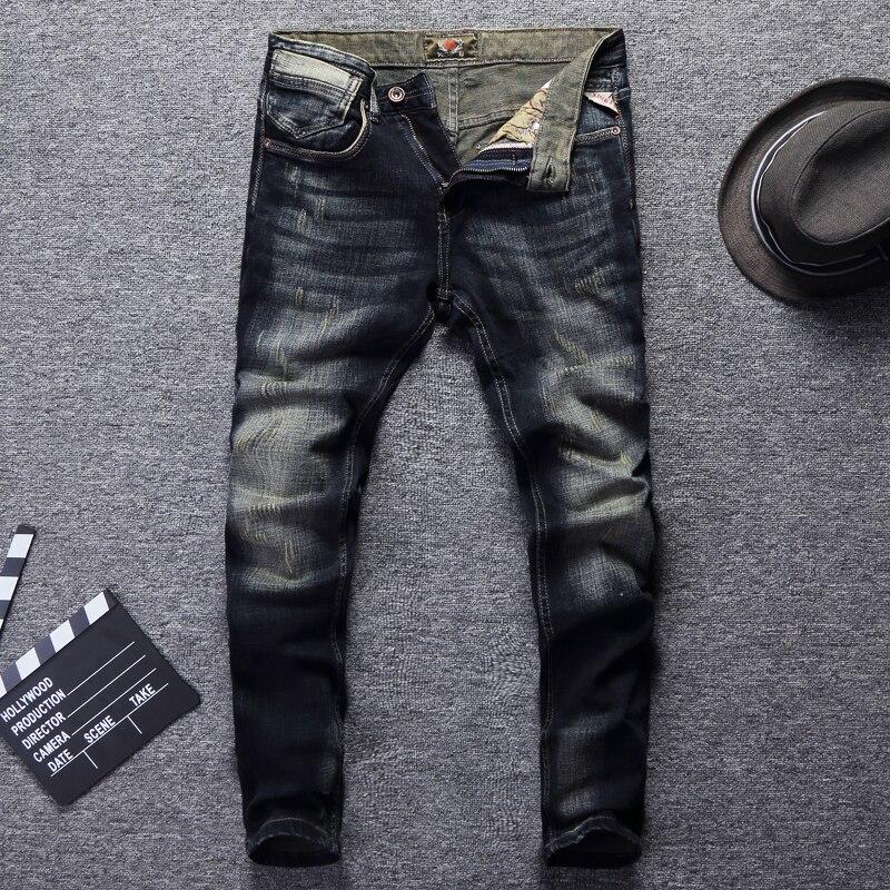 Italian Vintage Style Men Jeans Slim Fit Retro Wash Ripped Jeans Denim Casual Pants Brand Designer Fashion Classical Jeans Men