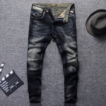 Italian Vintage Style Men Jeans Slim Fit Retro Wash Ripped Jeans Denim Casual Pants Brand Designer Fashion Classical Jeans Men недорго, оригинальная цена
