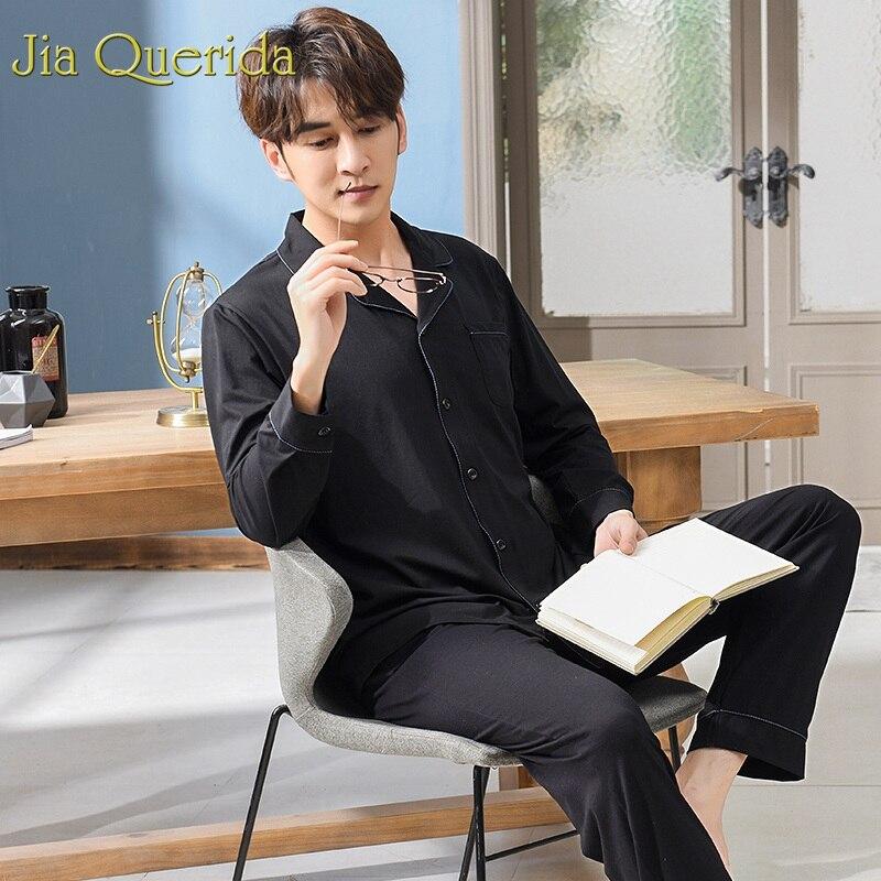 Pajamas Man Cardigan Black Sleepwear Suit Male Men's Solid Brand Modal Lapel Plain Fashion