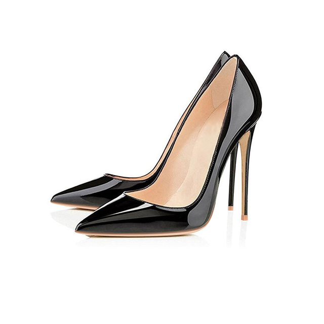 GENSHUO Women Pumps Brand High Heels Black Patent Leather Pointed Toe Sexy Stiletto Shoes Woman Ladies Plus Big Size 11 12 3