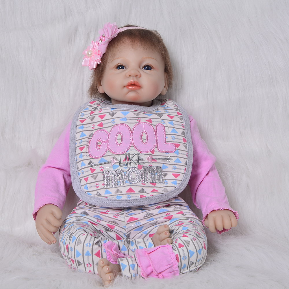 22 Inch Reborn Doll Silicone Vinyl Babies Toy For Girls Gifts 55 CM Lifelike Soft Reborn Baby Dolls Cloth Body For Kids Playmate