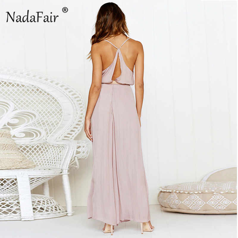 d0b539b99915 ... Nadafair deep v neck backless strap jumpsuits for 2019 women loose  criss cross sexy rompers womens ...