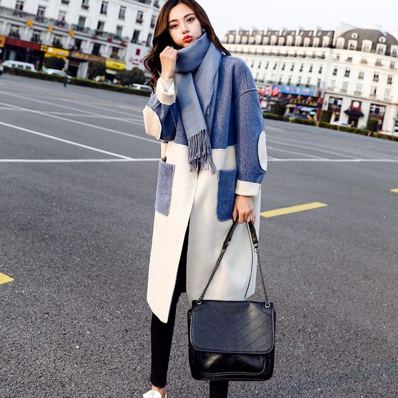 2019 New Women Long Section Woolen Trench Coat Women's Popular Autumn Winter Wool Blends Thickened Woolen Outerwear Female D027