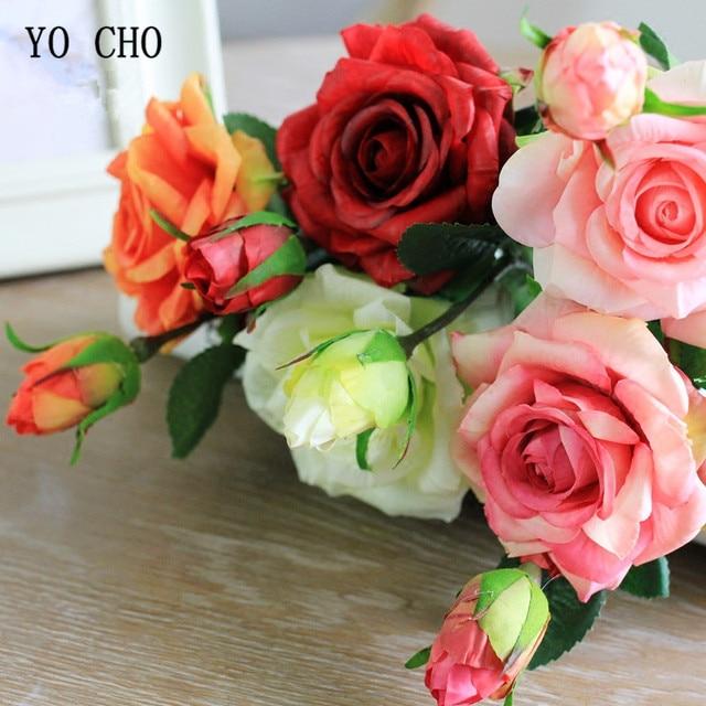 Yo Cho Artificial Flower Rose Bridal Bouquet Pink Gold Wedding Bouquets Weddding Home Decoration Delicate