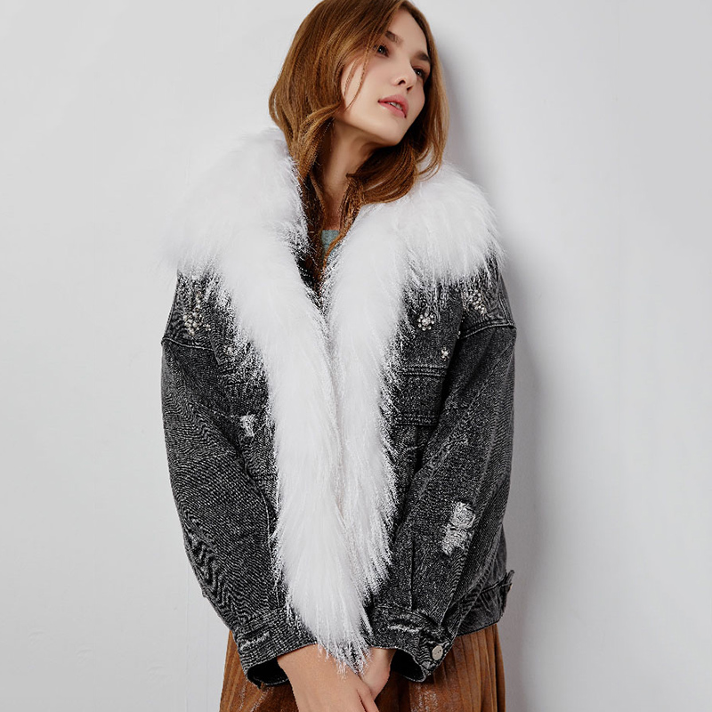 Oversized Real Raccoon Fur Denim Parka Women   Down   Jacket 2019 New Arrival Winter Large Fur Collar 90% White Duck   Down     Coats