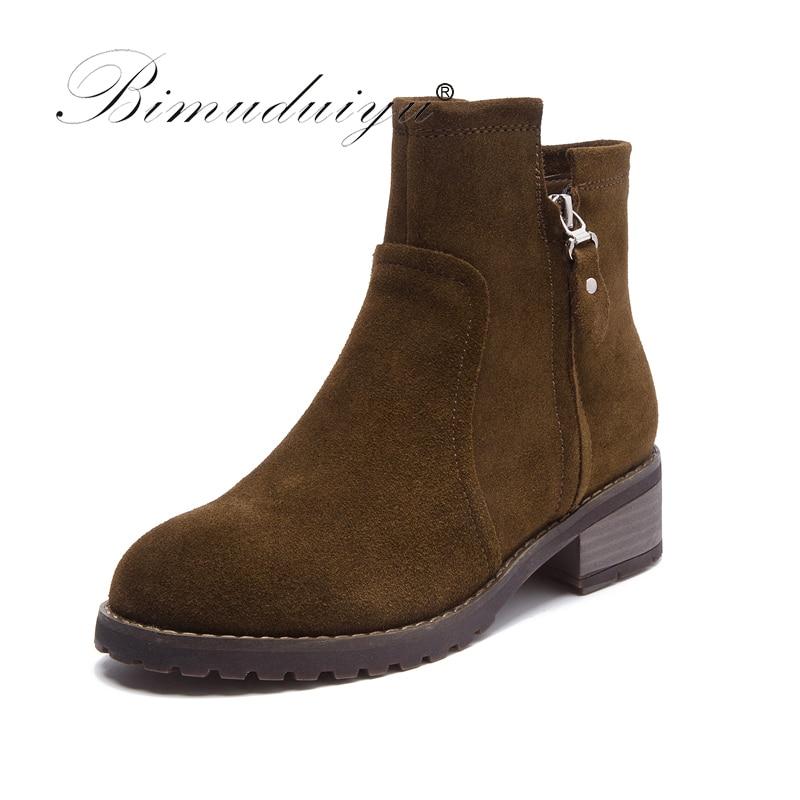BIMUDUIYU Brand Autumn Women Short Martin Boots Genuine Nubuck Leather Ankle Boot Fashion Winter Warm Medium Heel Femmes Shoes цены онлайн