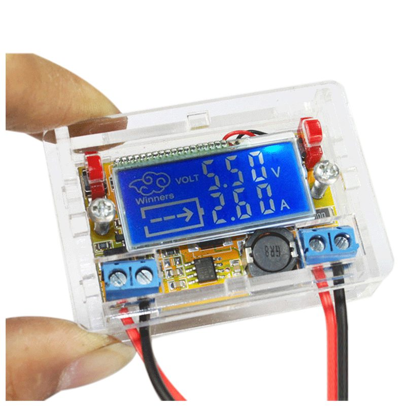 THGS 1 sets of ACRYLIC shell + STN LCD 3A DC-DC DC adjustable step-down regulator power supply module LCD display voltage and liquid crystal displays dc dc step down power supply adjustable push button module with lcd display