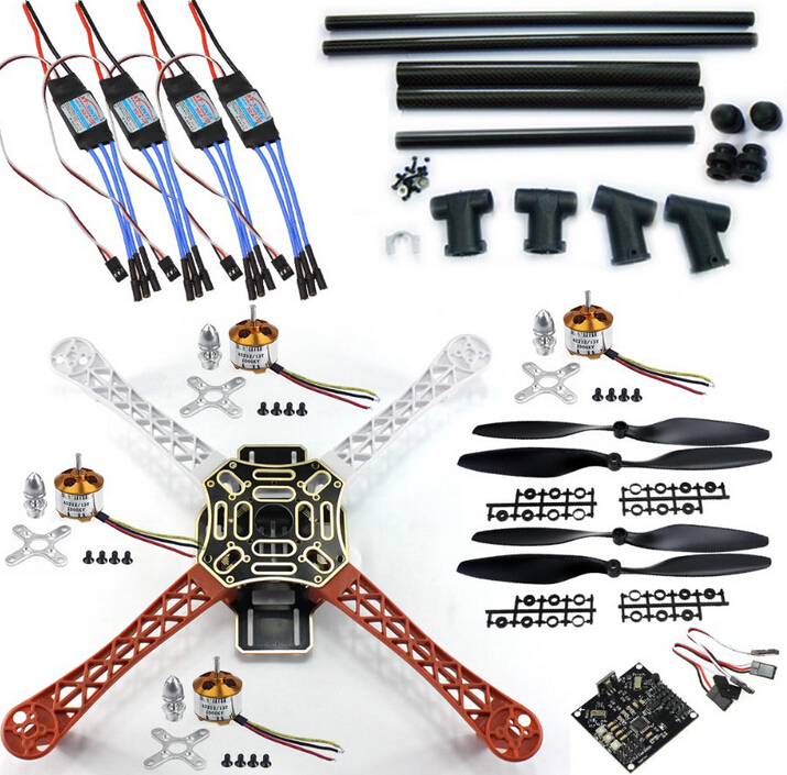 F06586-C DIY RC Quadcopter FPV Kit:Nylon Flamewheel + Carbon Tall Landing Skid + KK V2.9 Controller + Motor ESC+ f06586 c diy rc quadcopter fpv kit nylon flamewheel carbon tall landing skid kk v2 9 controller motor esc