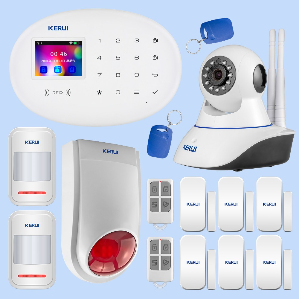 KERUI système d'alarme de sécurité à domicile infrarouge mouvement Induction porte magnétique dispositif d'induction Wifi caméra alarme Flash Kit de combinaison