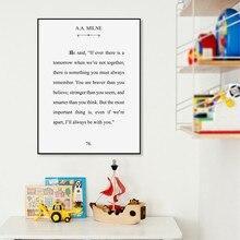 A.A. Milne Literatuur Print Typografie Citaat Modern Wall Art Canvas Schilderij Winnie de Pooh Klassieke Poster Thuis Kamer Muur Decor