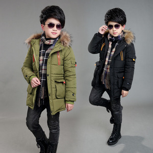 Image 4 - Childrens Double Zipper Jackets Boys Thickening Fur Collar Hooded Cotton Jacket Children Winter Outerwear Coats