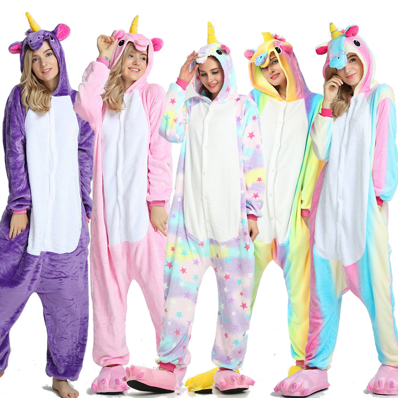 Suit Pajama Sleepwear Shark Onesie Unicorn Couple Flannel Animal Kigurumi Adult Winter