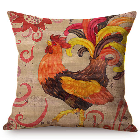 Colorful Cock Oil Painting Art Chicken Rooster Throw Pillow Cover Home Decorative Cotton Linen Sofa Cushion Cover Car Pillowcase M093-6