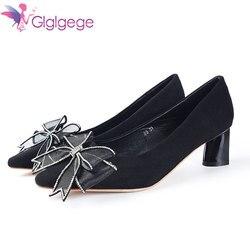 Glglgege Роскошный Кристалл женская обувь на широких каблуках, с пряжкой женские туфли-лодочки Стилет Женская рабочая обувь Острый носок сваде...