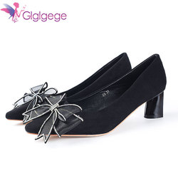 Glglgege Luxurious Crystal Woman Shoes Buckle Thick  Heels Women Pumps Stiletto Women's Work shoe Pointed Toe Wedding Shoes