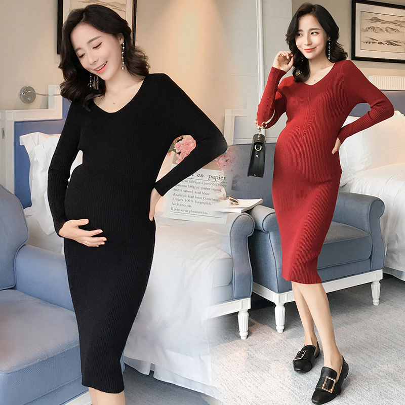 Elegant Sexy Knitted Maternity  Dress Autumn Winter Fashion Super Strech Clothes for Pregnant Women Pregnancy Formal DressesElegant Sexy Knitted Maternity  Dress Autumn Winter Fashion Super Strech Clothes for Pregnant Women Pregnancy Formal Dresses
