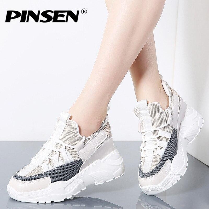 sitio de buena reputación aa524 98be1 € 22.91 40% de DESCUENTO|PINSEN moda 2019 nuevas zapatillas de plataforma  de primavera mujeres aumento 7 cm de altura zapatos gruesos mujer encaje up  ...