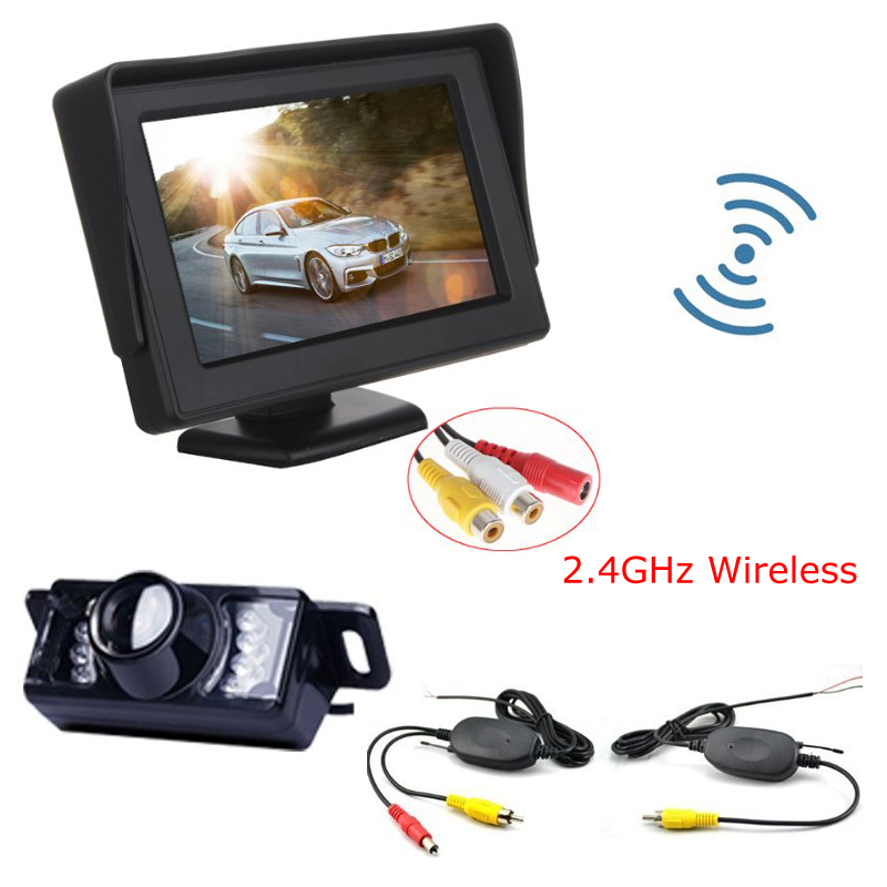 ANSHILONG 3 in 1 Wireless Parking Camera Monitor Video System, DC 12V Car Monitor With Rear View Camera + Wireless Kit