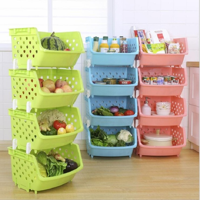 Kitchen Tools Store Stand Alone Cabinet Urijk Space Saver Organizer Container Plastic Can Be Stacked Storage Basket Fruit And Vegetables Rack